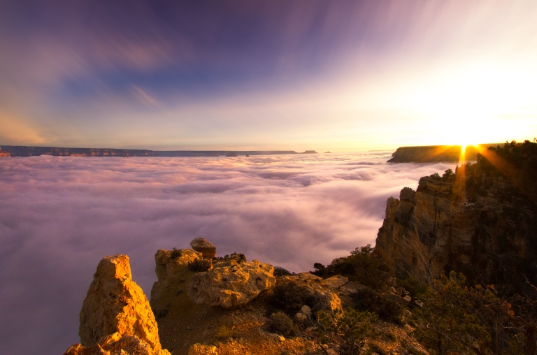Clouds fill the grand canyon during a temperature inversion. South Rim, Maricopa Point, Grand Canyon, Arizona.