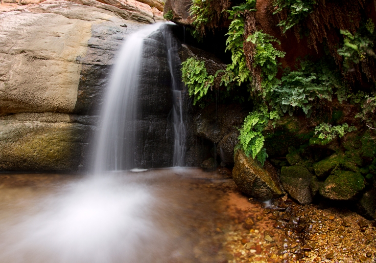 Water Fall in the narrows, below indian garden, Grand Canyon National Park, Arizona.